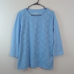NWOT BASIC EDITIONS XL LIGHT BLUE LACE FRONT TOP